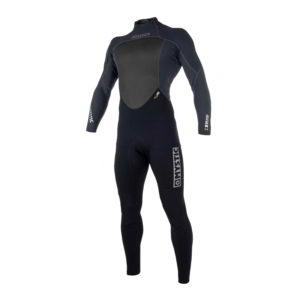 Neopreno Mystic Brand Fullsuit 3/2 bzip flatlock negro por delante