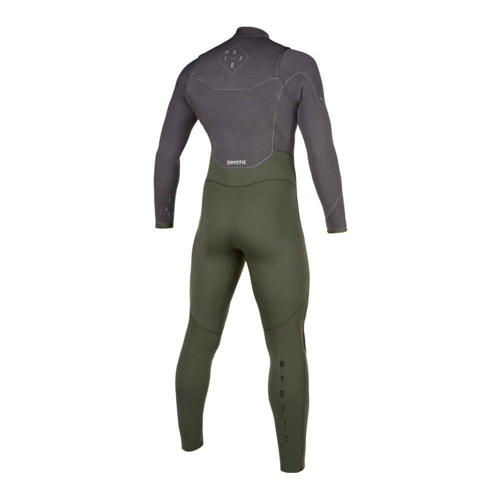 Neopreno Mystic Star fullsuit 5/3mm double fzip grey/green por detras