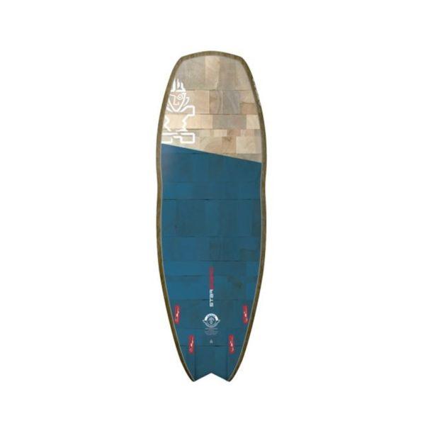 Tabla de SUP Starboard Hyper Nut Flax Balsa por detrás color azul marino y madera