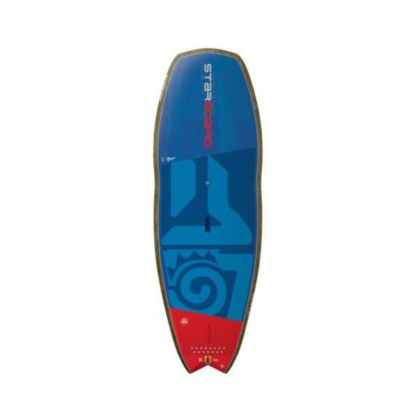 Tabla de SUP Starboard Hyper Nut Flax Balsa por delante color azul marino y madera